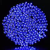 Ucharge 200 72 Feet Solar Powered String Blue LED Lights, Fairy Waterproof String Lights for Indoor, Outdoor, Christmas, Holiday and Patio Decoration