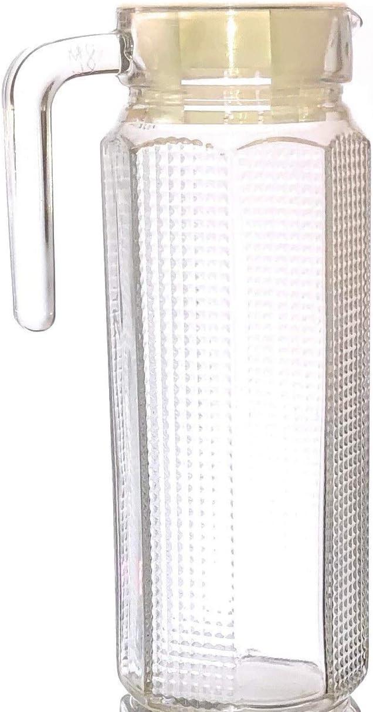 Xinmin 1 Litre Hexagonal Juice Water Glass Jug with Lid