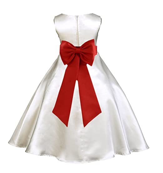 93d4c36d602 ekidsbridal Ivory Satin A-Line Flower Girl Dress Junior Bridesmaid Dress  821T 2