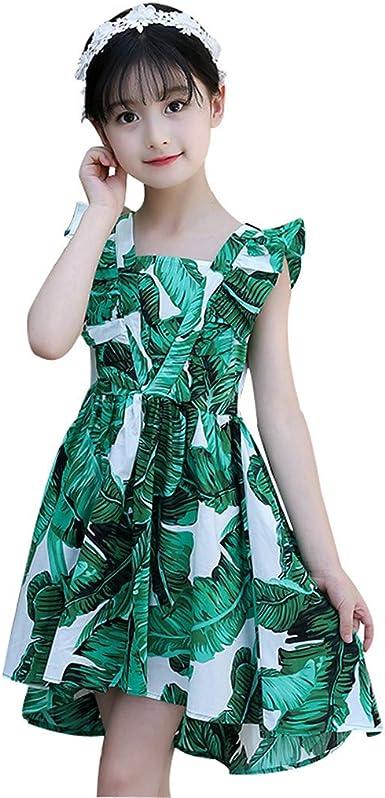 Julhold Kids Teen - Vestido Casual de algodón para niños y niñas, sin Mangas, Estampado de Hojas: Amazon.es: Ropa y accesorios