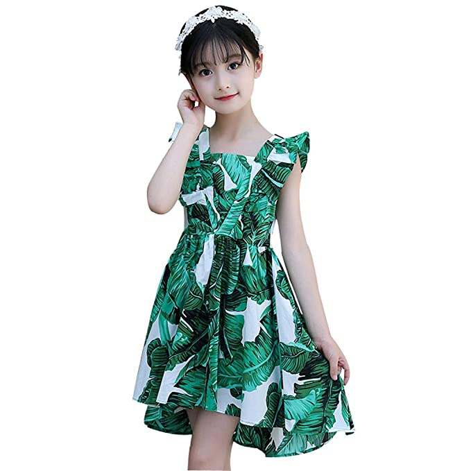 Girls Clothes Summer Dress Floral Printed Jersey Kid Dresses Sleeveless Clothing