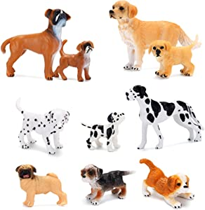 Dog Figurines Toy Playset 10Pcs, Hand Painted Plastic Dogs Figures, Realistic Pet Puppy Figures Family Set, Baby Shower Decor Cake Toppers Christmas Birthday Party Favors for Kids Toddlers