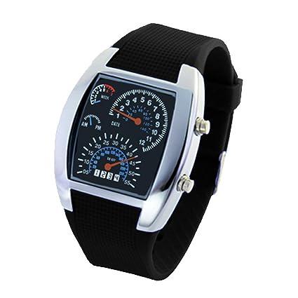 oumosi salpicadero de coche Dial LED reloj deportivo Hombres impermeable reloj de pulsera