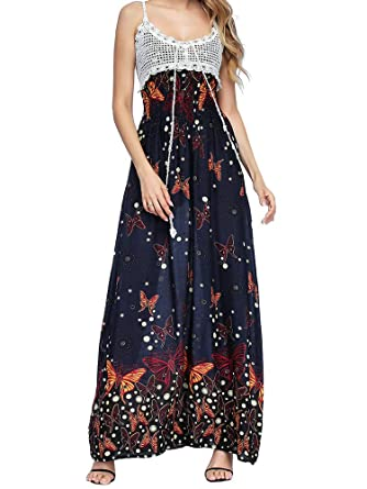 ca40c722f0 Women's Sleeveless Halter Neck Vintage Floral Print Maxi Dress Butterfly S