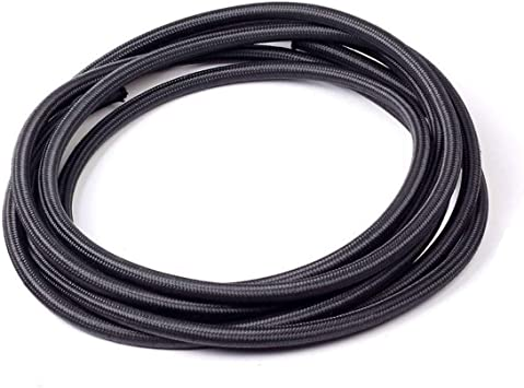Upgr8 5 Feet Length Nylon Steel Braided Fuel//Oil//Gas Line Hose -8AN, Black