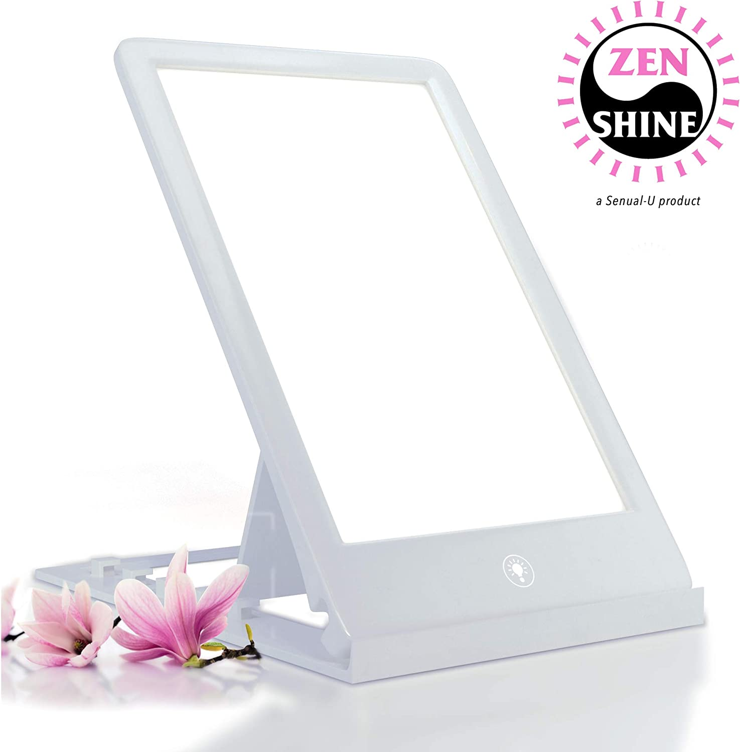 ZenShine Portable Light Therapy Energy Lamp, Daylight Full Spectrum Light Lamp, 10000 LUX Adjustable LED Light, Tablet One Touch, 100 UV Free by Sensual-U