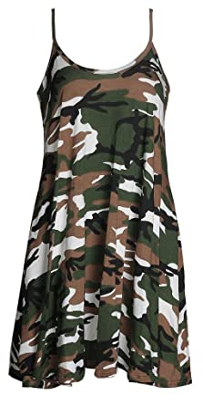 5a2cd668c67bd ZJ Clothes Womens Strap Rose Skull Check Spicy Boom Print Cami Swing Dress