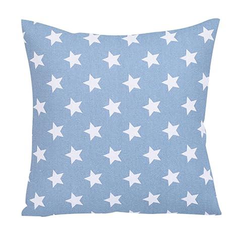 quanjucheer Funda de Cojín (45 x 45 cm), Diseño de Estrella, Lino, Azul (Lake Blue), 45cm x 45cm