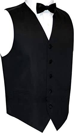 Bow-Tie /& Hankie Set in Black Mens Tuxedo Vest Now in Long Length Italian Design