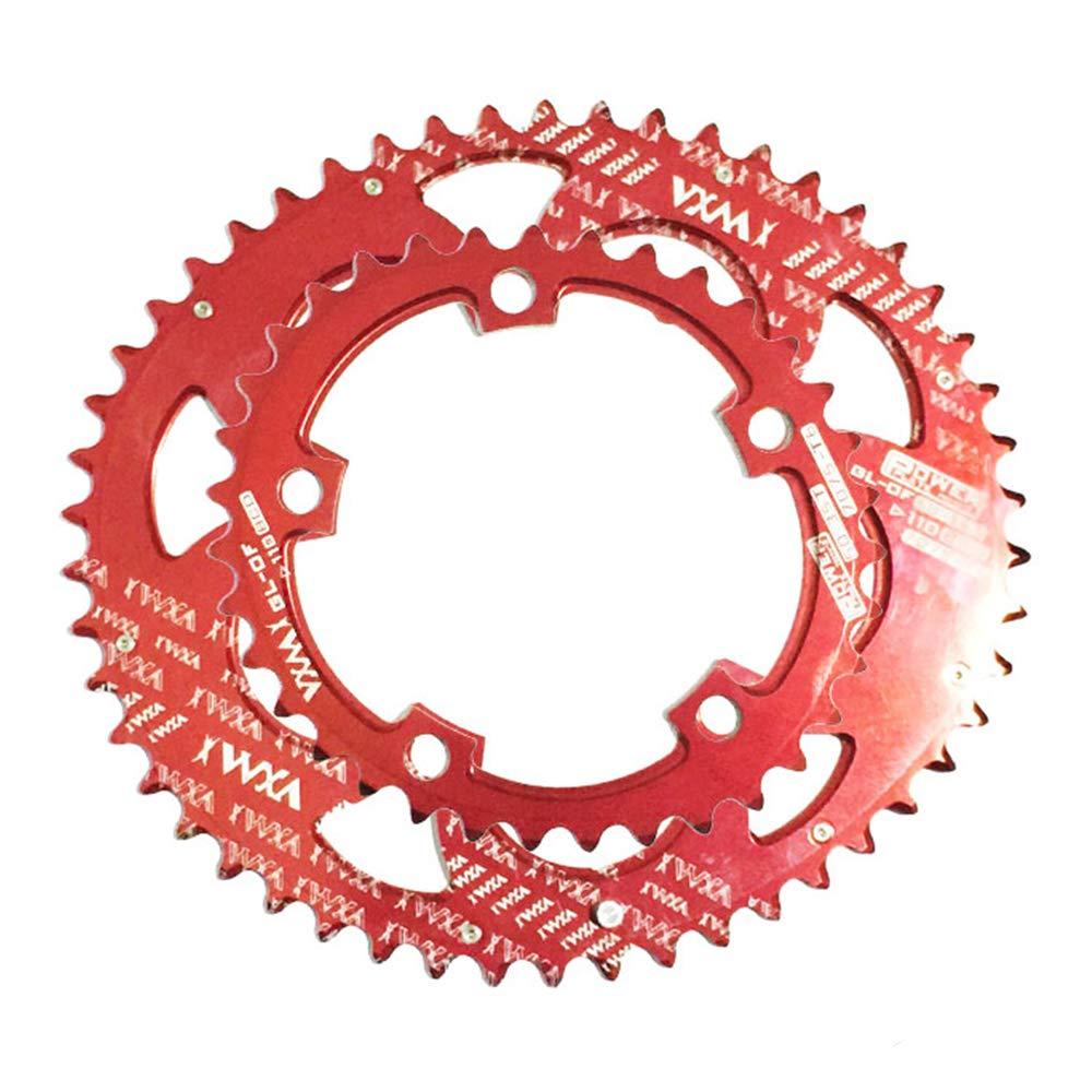 VXM デュアルオーバルシングルスピードチェーンリング 110BCD 50T/35T 700Cロードバイク用  レッド B07J9YLN15