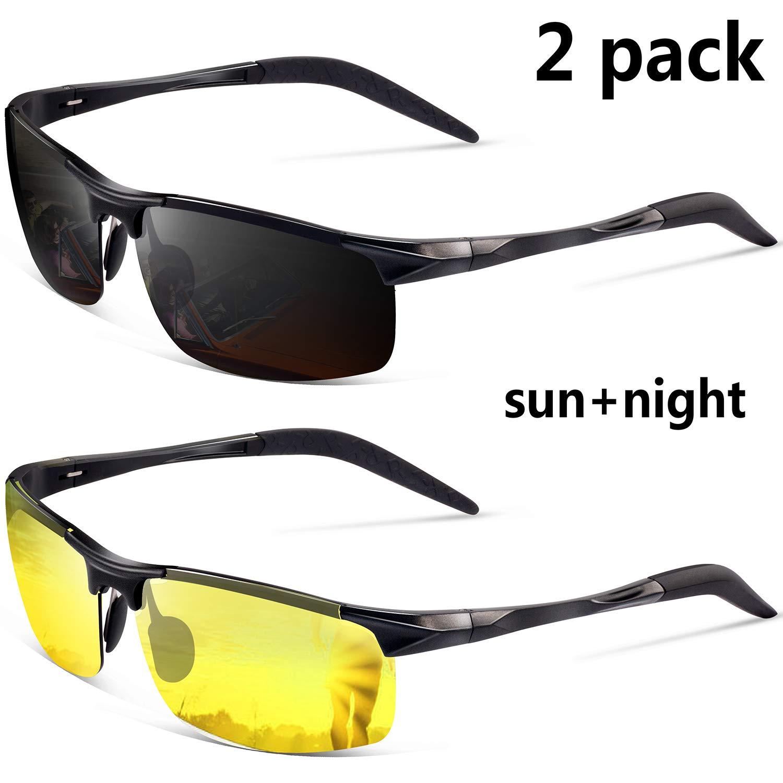 a3b4d13211bf Amazon.com  Sports Polarized Sunglasses for Men - Feirdio Mens Sports  Glasses Metal Frame Driving sunglasses 2266 (black+yellow