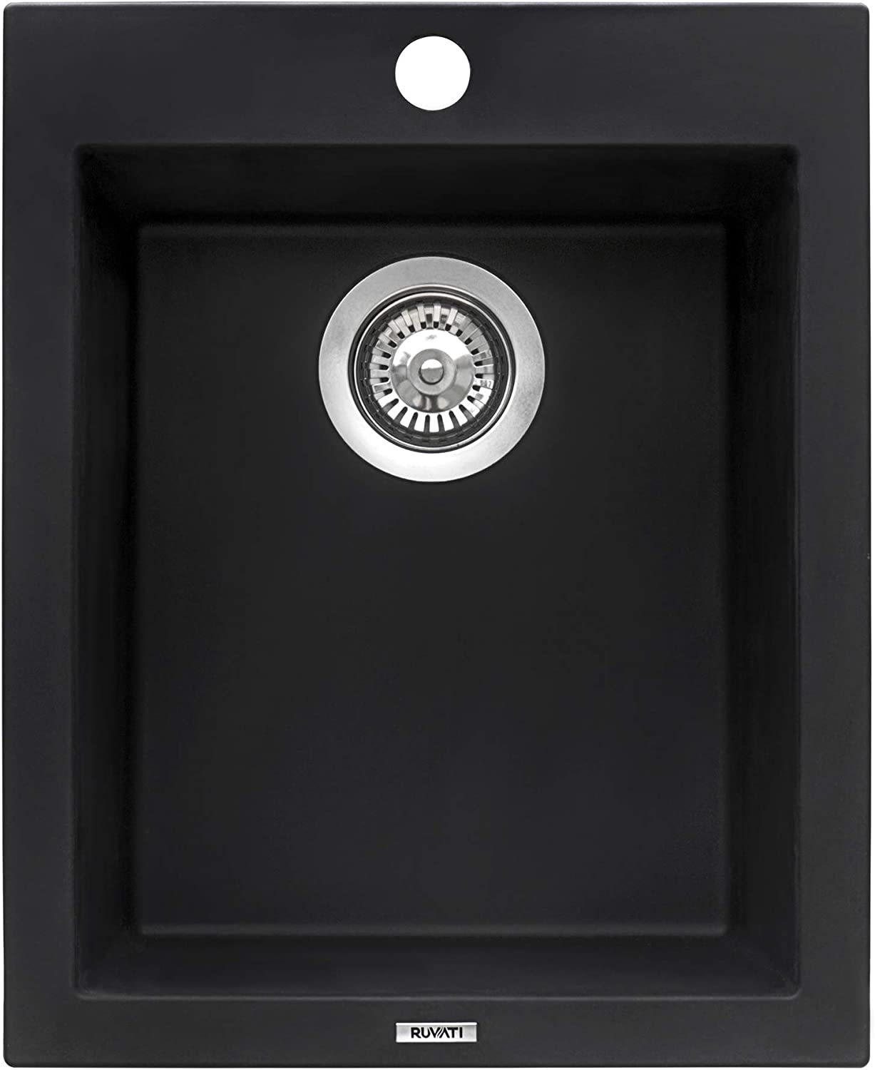 Ruvati 16 x 20 inch epiGranite Dual-Mount Granite Composite Single Bowl Kitchen Sink – Midnight Black – RVG1016BK
