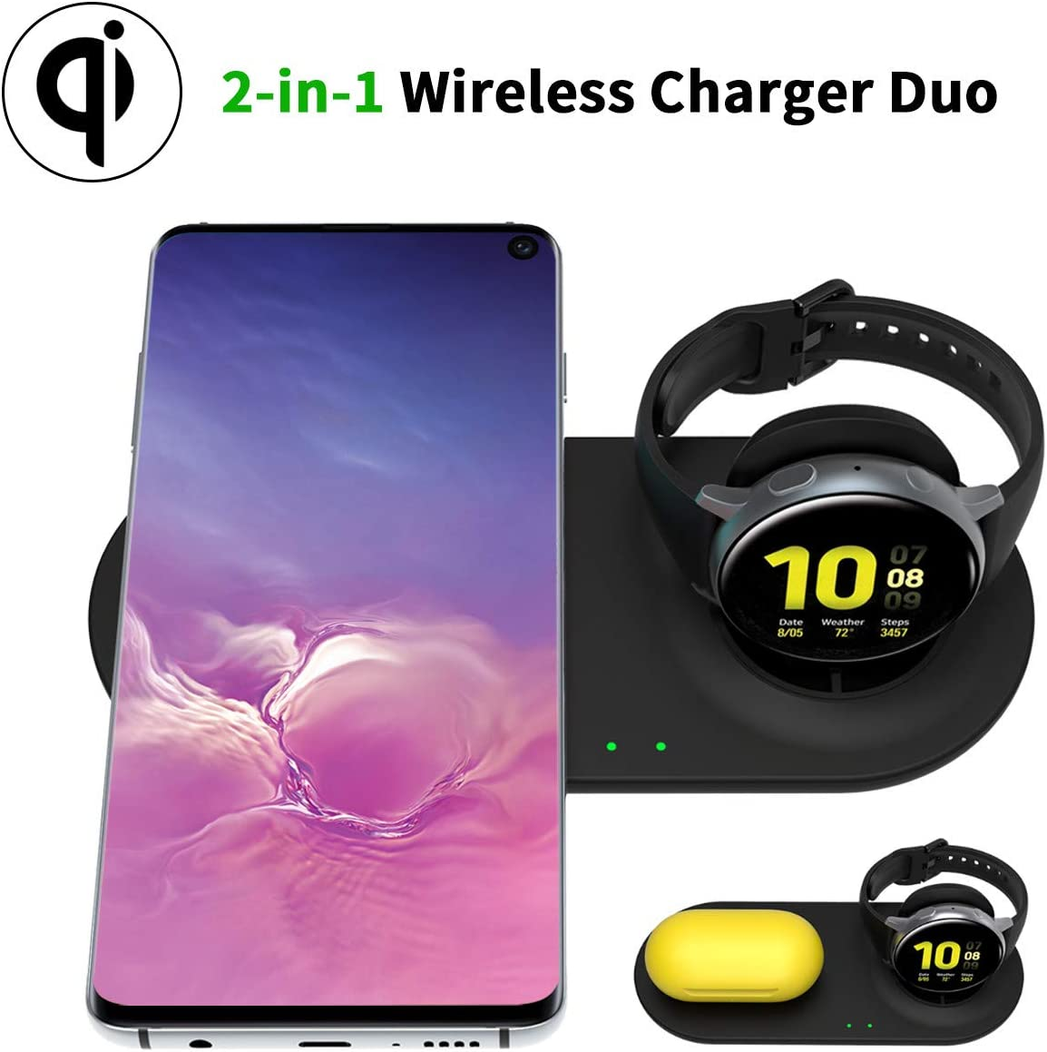 HATALKIN Qi-Certified Wireless Charger with Samsung Galaxy Watch Charging Pad and Phone Charger,for Galaxy Watch 42mm 46mm Active 2 Gear S3 / Z Flip/Airpods Pro / S20 Ultra ect.Samsung Android Phone