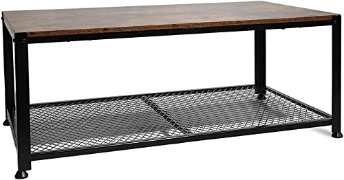 Rectangle Glass Top Coffee Table, Contemporary Style Side Center Tables with Lower Shelf, Metal Legs for Living Room