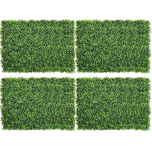 DearHouse 4Pack Artificial Boxwood Panels Topiary Hedge Plants Artificial Greenery Fence Panels for Greenery Walls,Garden,Privacy Screen,Backyard and Home (Backyard Wall)