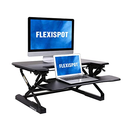 FlexiSpot M8MB Standing Desk – 35 Height Adjustable Tabletop Workstation Sit to Stand Gas Spring Riser Converter with Spacious and Quick Release Keyboard Tray