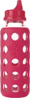 product image for Kids Glass Sippy Cap Bottle, 9 oz, with Silicone Sleeve by Lifefactory, in Raspberry