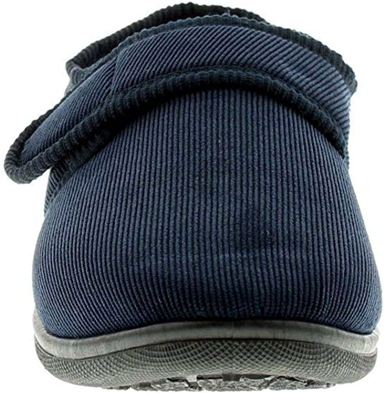 tailles UK 6-12 pour bleu fin velours c/ôtel/é fermeture scratch pantoufles NEUF POUR HOMMES Bleu