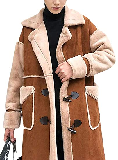 2019 discount sale cute best sell WAWAYA Mens Warm Winter Lamb Wool Lined Faux Suede Trench ...