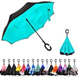 Inverted Umbrella Double Layer Reverse Umbrella with C-Shaped Handle, Ylovetoys Anti-UV Inside Out Windproof Umbrella for Car Rain Outdoor Use