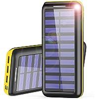 AKEEM Powerbank 24000mAh Verbessert Externer Akku, Solar Ladegerät mit Dual Eingangsports und 3 USB Ausgängen Tragbare Power Bank für das Android/IOS Phone und andere Smartphones/Handys