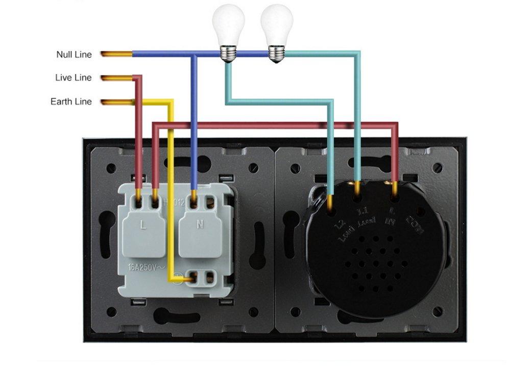 2-Weg Lichtschalter/Steckdose Touchscreen aus Glas in Weiß VL-702-11 ...