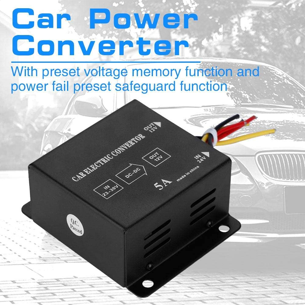 DC 24V to 12V Power Converter Car Truck Electric Inverter Voltage Reducer Step-down Transformer 5A//60W