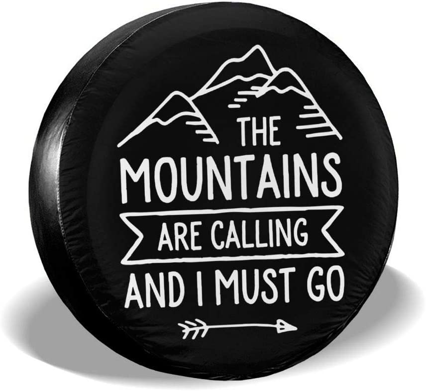 ULNL The Mountains are Calling and I Must Go Spare Wheel Tire Cover Funny Waterproof Tire Protectors Novelty