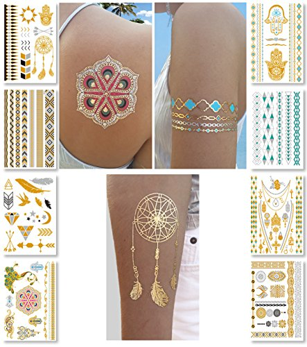 Metallic Temporary Tattoos for Women Teens Girls - 8 Sheets Gold Silver Temporary Tattoos Glitter Shimmer Designs Jewelry Tattoos - 100+ Color Flash Fake Waterproof Tattoo Stickers (Caicos)]()