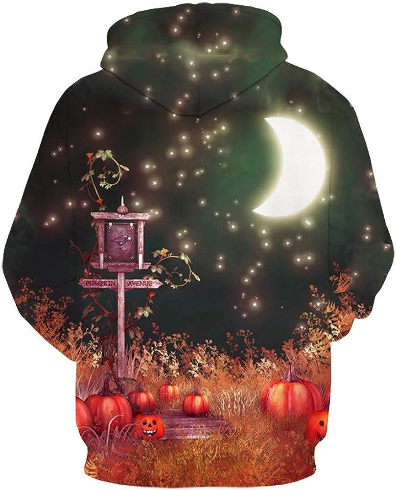 Balakie 3D Street Sign Print Sweatshirt Blouse Mens Halloween Long Sleeve Hoodie