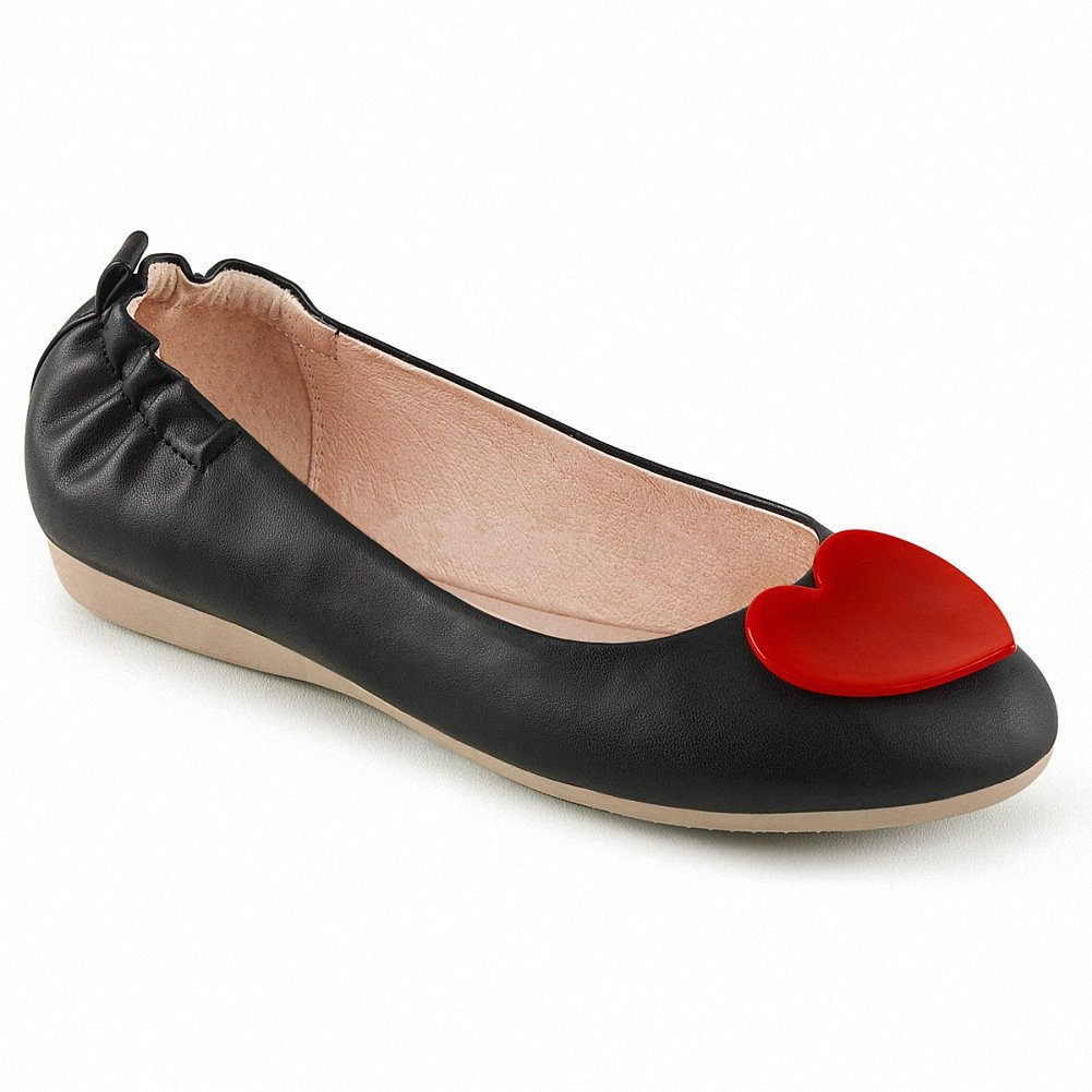 Pin Up Couture OLIVE-05 Women Round w/Heart Toe Foldable Ballet Flats w/Heart Round Adornment at Toe B074F3XMPJ 11 B(M) US|Blk Faux Leather b08d52