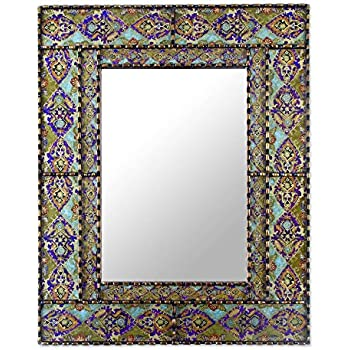 NOVICA Purple and Green Reverse Painted Glass Frame Rectangular Wall Mounted Mirror, Colorful Reflection'