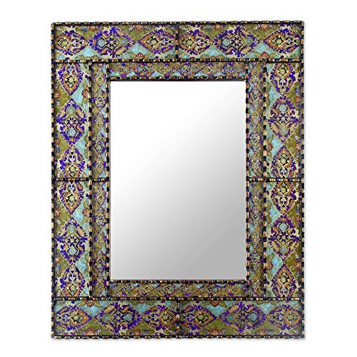 NOVICA Purple and Green Reverse Painted Glass Frame Rectangular Wall Mounted Mirror, -