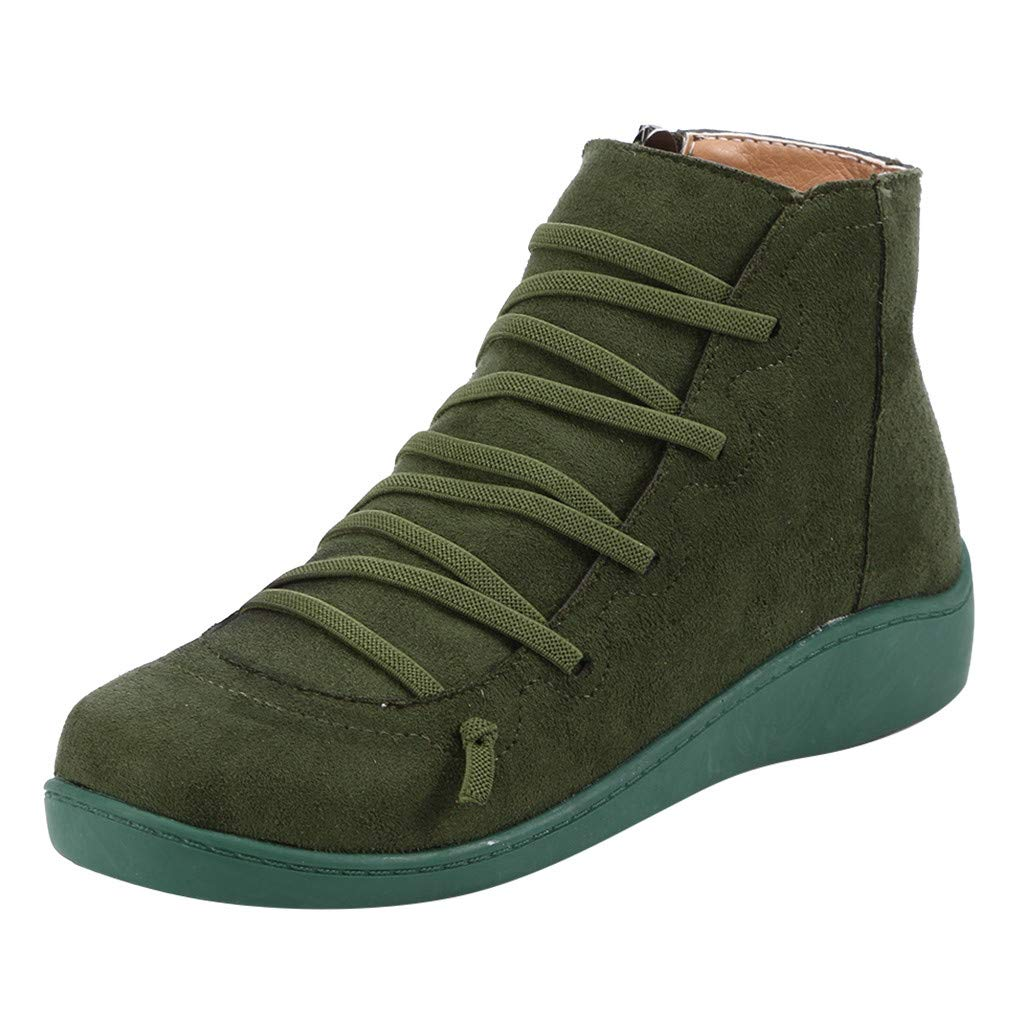 Sumeimiya 2019 New Arch Support Boots Womens Autumn and Winter Comfy Casual Short Flat Boots Classic Side Zipper Boots