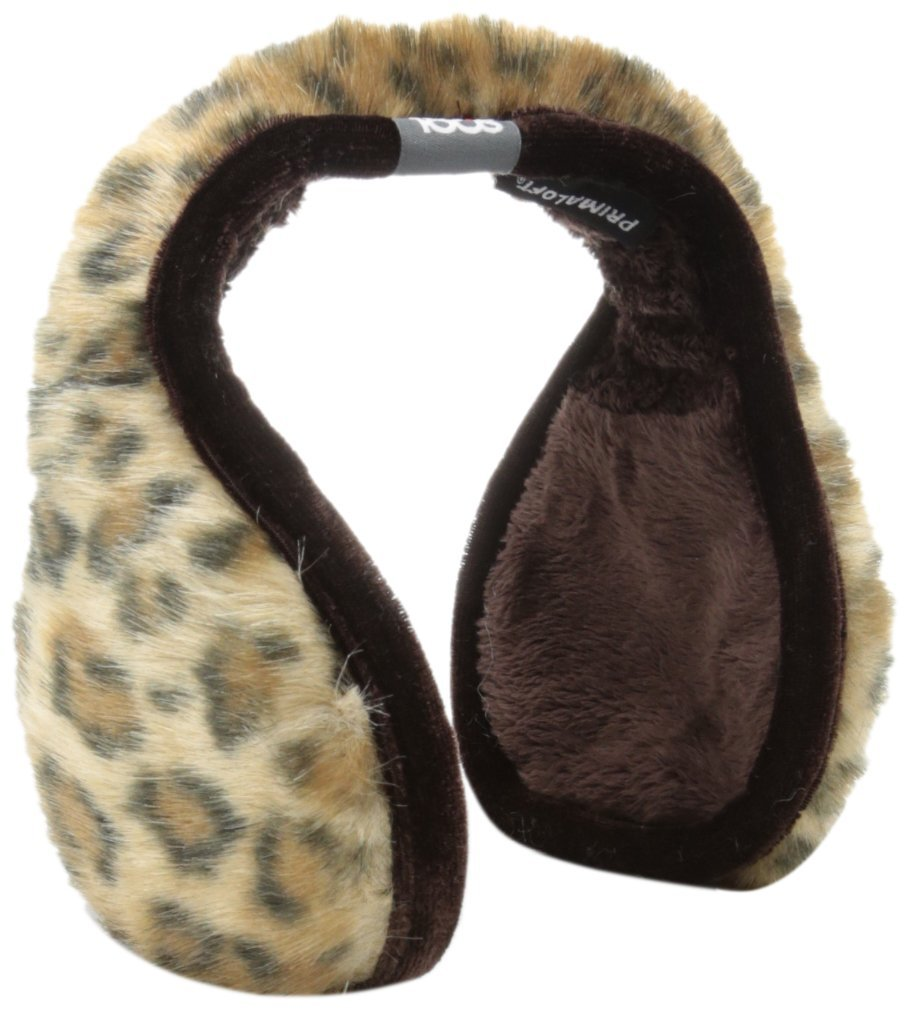 180s Women's Vail Ear Warmers, Gold Leopard, One Size