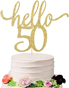 Eiveny Golden Glitter Hello 50 Cake Topper - Cheer to 50th Years - 50 and Fabulous Cake Topper - Wedding Anniversary Party Sign Decorations (50)