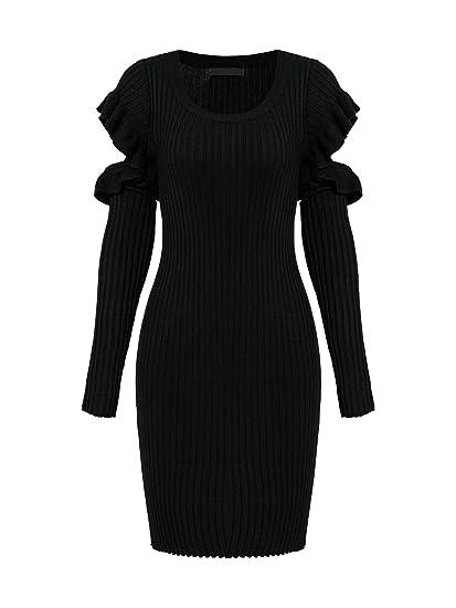 b633b2476 Elva Nell Women s Cute Ruffle Cold Shoulder Sweater Dress Slim Fit ...
