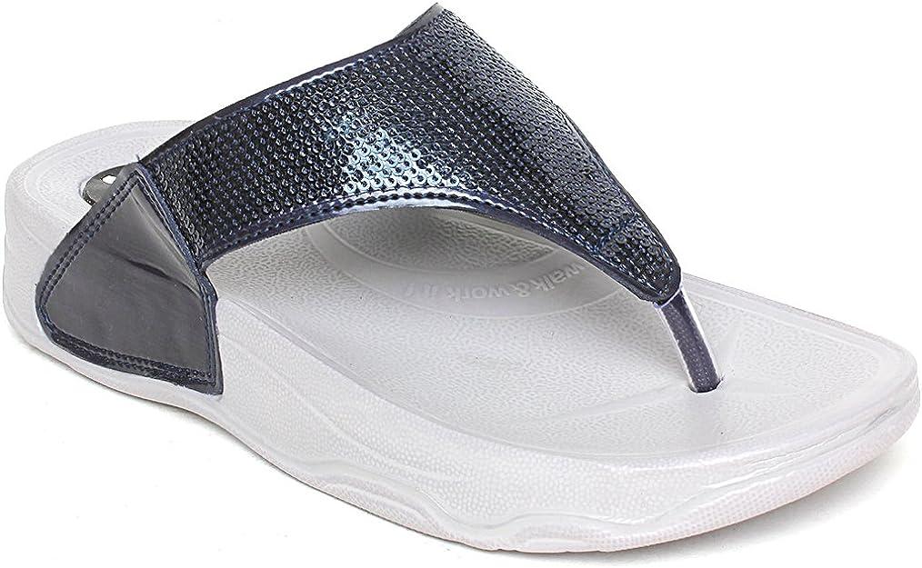 WELCOME Women's Blue Synthetic Flip Flops Women's Flip-Flops & Slippers at amazon