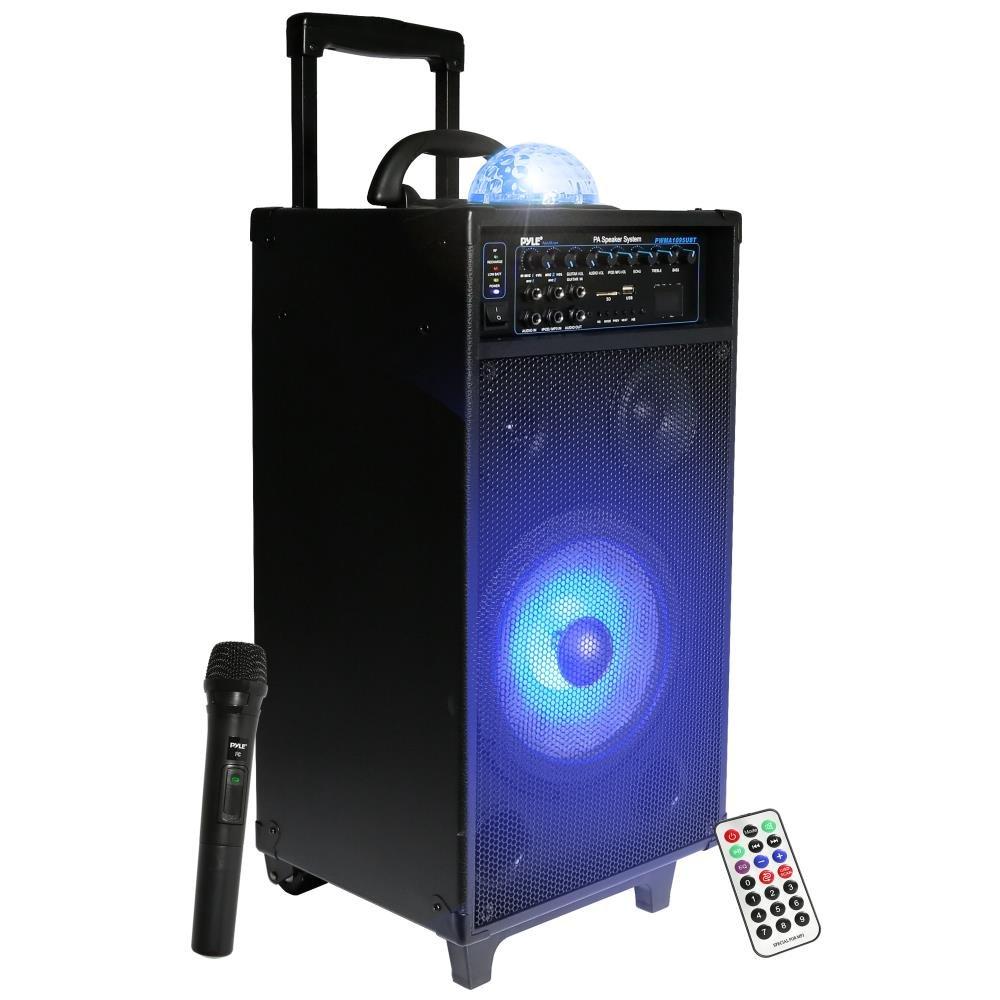 Pyle PA Speaker System, Portable Loudspeaker, DJ Speakers, Rechargeable Battery, FM Radio, Bluetooth Music Streaming, MP3, USB, SD Card - Readers, Karaoke, Crowd Control, Stage, Black (PWMA1095UBT)