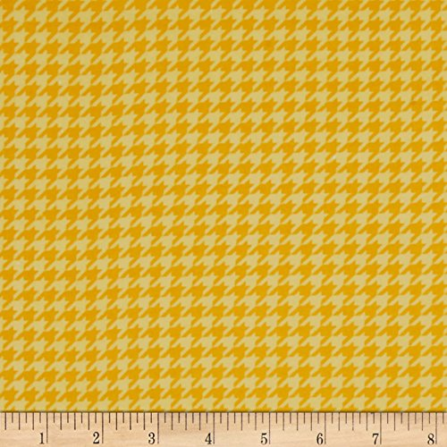 E. E. Schenck Kimberbell Little One Flannel Too Houndstooth Sunny Yellow Fabric by The Yard