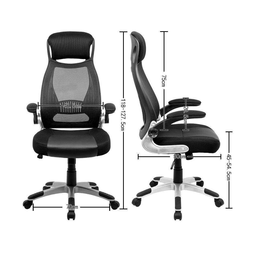 Hoch Hoch Hoch Rücken Ergonomische Schreibtischstuhl Hoch Rücken Bürostuhl Bürodrehstuhl High Back Chefsessel Schreibtischstuhl hohe ergonomische Netzrücken integrierte Kopfstütze klappbare Armlehnen Stoff (Schwarz) fc9d10