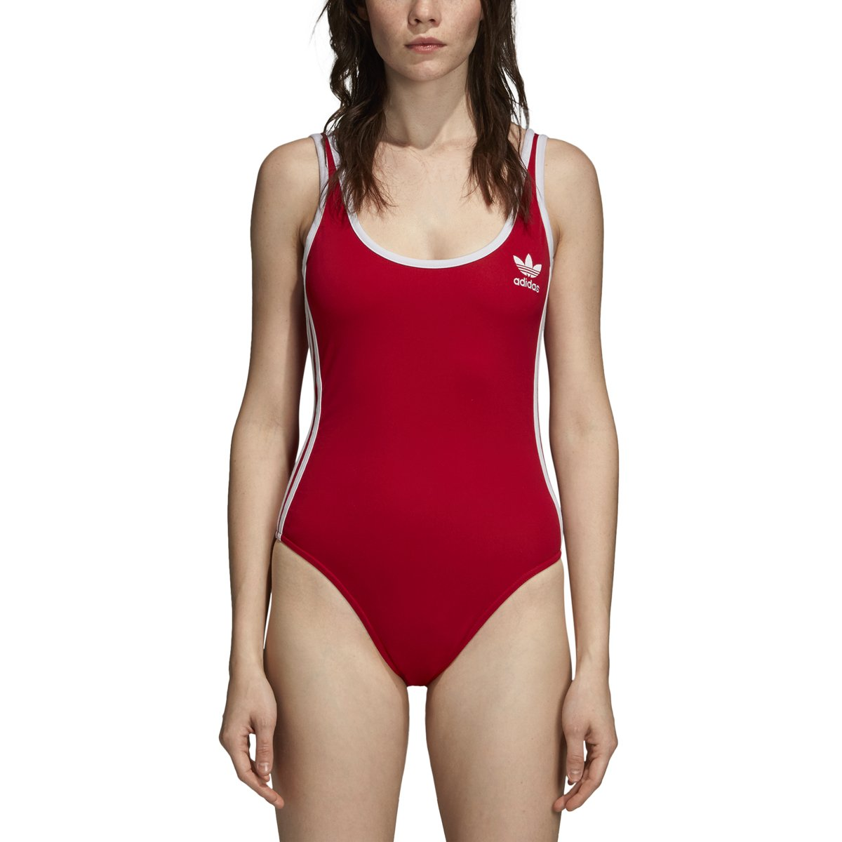 adidas Originals Women's 3-Stripes Bodysuit, Real Red, M
