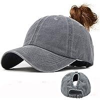 CheChury Gorra de béisbol Lavable Algodón Pony Caps Adjustable Béisbol Sombrero Gorra Vintage Gorra de Tenis Retro…