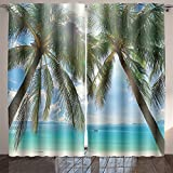 SOCOMIMI Room Curtain beautiful sunny beach with palm trees in the background of the islands