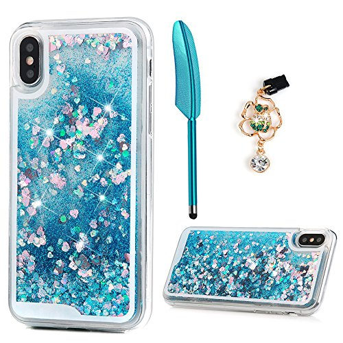 Glitter Blue Heart (ZSTVIVA iPhone X/iPhone Xs Case, Glitter Liquid Case Cover Blue Quicksand Bling Sparkle Moving Love Heart Slim Soft TPU Bumper Protector with Stylus Pen Dust Plug for iPhone X/iPhone Xs - Blue)