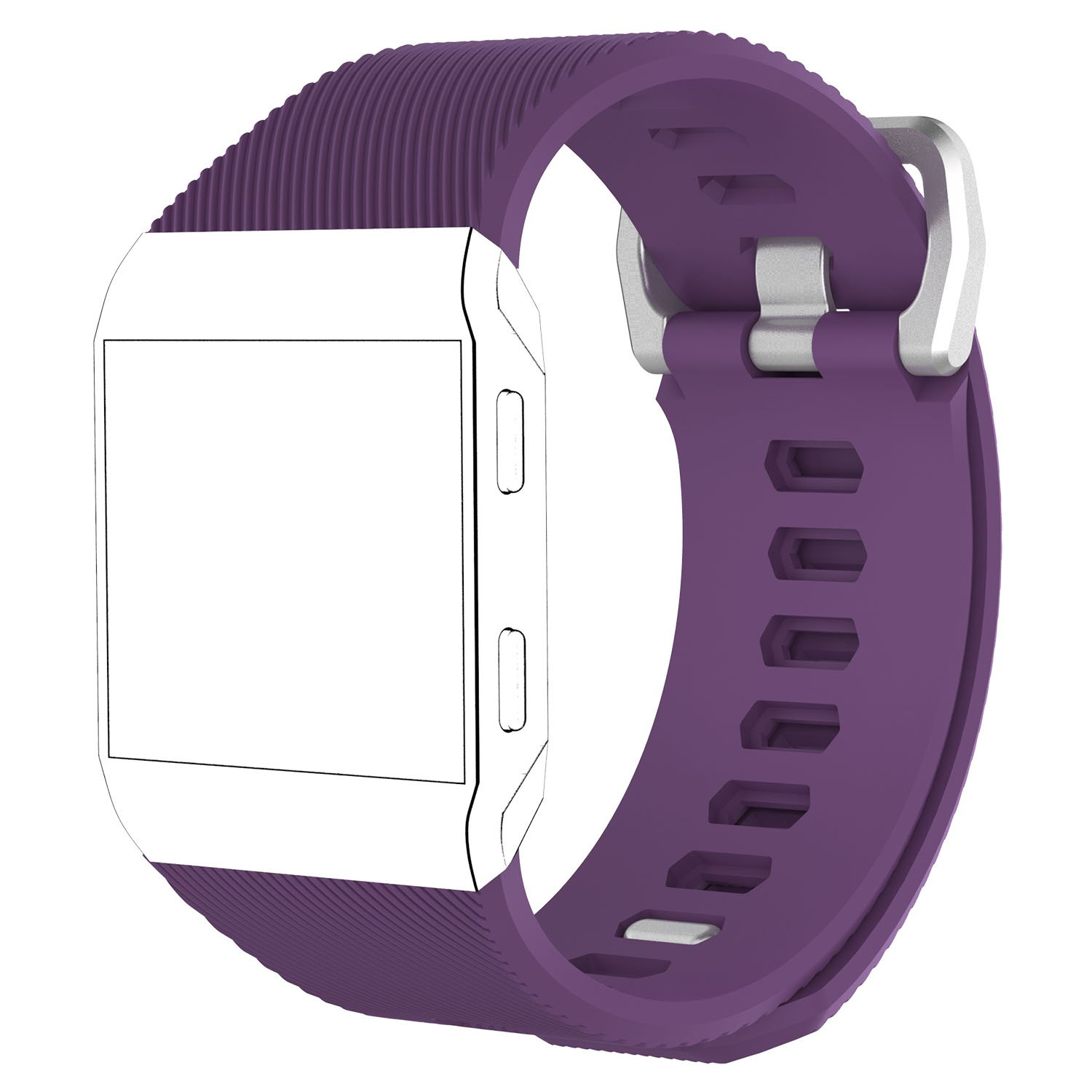 QGHXO Band for Fitbit Ionic No Tracker Soft Silicone Adjustable Replacement Sport Strap Band for Fitbit Ionic Smartwatch