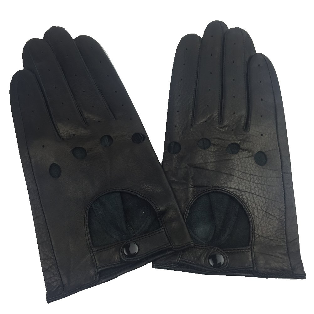 Sandy Ting Cowhide Men's Unlined Leather Driving Gloves Full-Finger (XL)