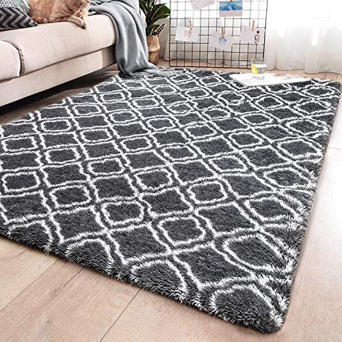 YJ.GWL Soft Indoor Large Modern Area Rugs Shaggy Patterned Fluffy Carpets Suitable for Living Room and Bedroom Nursery Rugs Home Decor Rugs for Christmas and Thanksgiving 5 x8 Grey Trellis