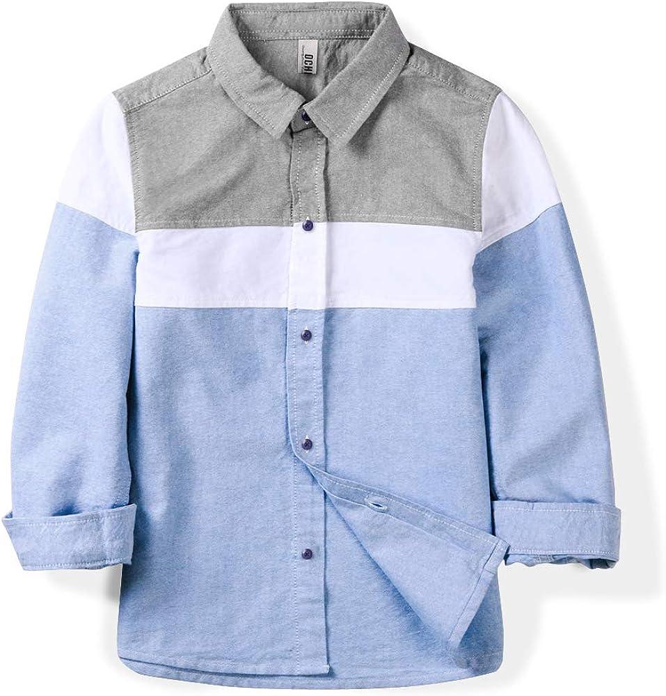 Phorecys Boys Long Sleeve Button Down Oxford Shirt Little Big Kids Color Block Casual Dress Tops