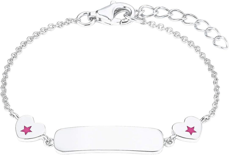 Prinzessin Lillifee 2027224 - Pulsera para niña (plata 925, 14 cm), diseño de corazón, color rosa